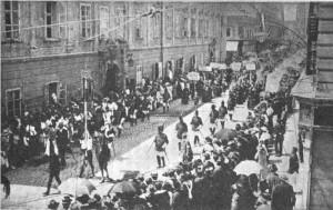 Die Trabantengarde beim Festzug zur Volksabstimmung in Klagenfurt - 1920