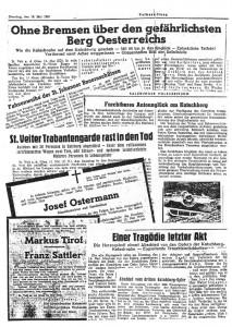 Berichte über das Katschbergunglück 1950