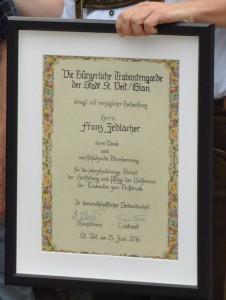 Die Urkunde für Franz Zedlacher